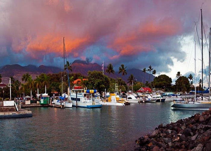 Lahaina Harbor Maui Hawaii Boats Sea Sky Sunset Greeting Card featuring the photograph Lahaina Harbor by James Roemmling