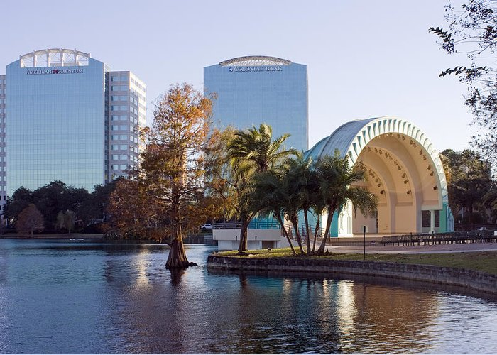 Bandshell Greeting Card featuring the photograph Lake Eola's Classical Revival Amphitheater by Lynn Palmer