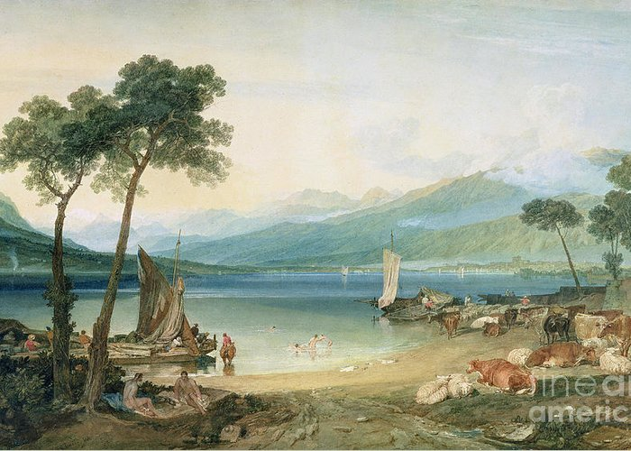 Lake Geneva And Mont Blanc Greeting Card featuring the painting Lake Geneva And Mont Blanc by Joseph Mallord William Turner