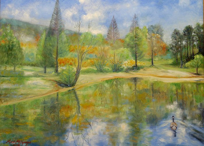 Spring Greeting Card featuring the painting Lake In Springtime. by Max Mckenzie