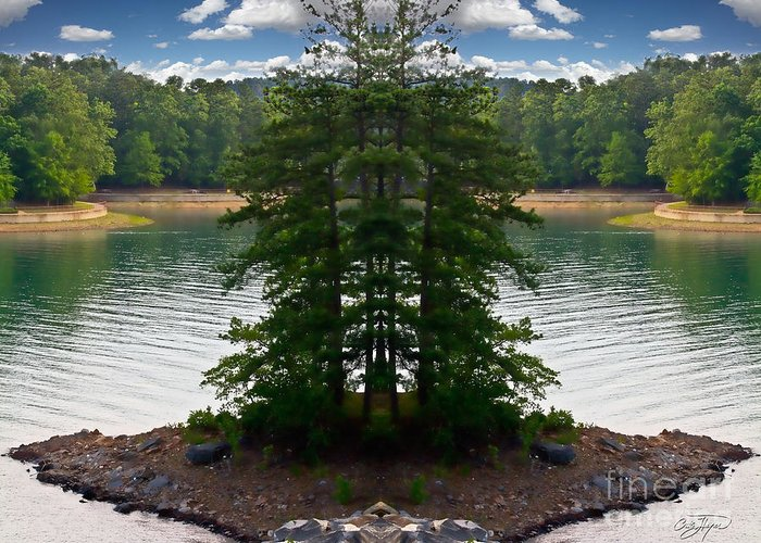 Mirror Greeting Card featuring the photograph Lake Lanier Mirror Image - Artist Cris Hayes by Cris Hayes