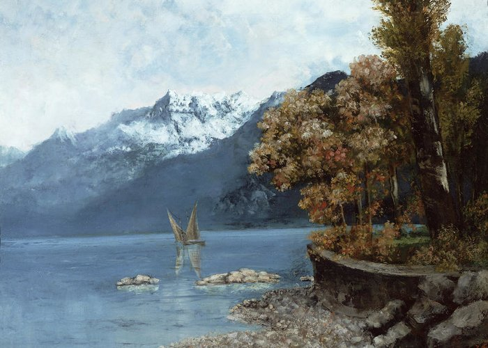 Lake Greeting Card featuring the painting Lake Leman by Gustave Courbet