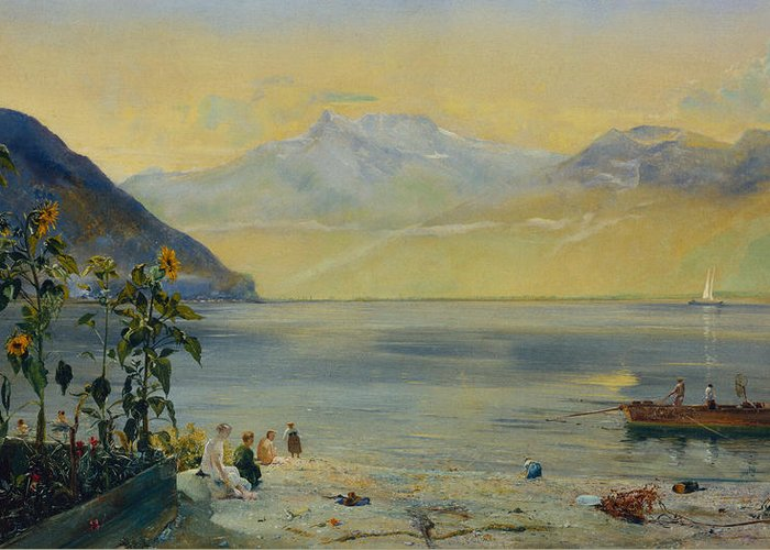 Lake Leman With The Dents Du Midi In The Distance Greeting Card featuring the painting Lake Leman With The Dents Du Midi In The Distance by John William Inchbold
