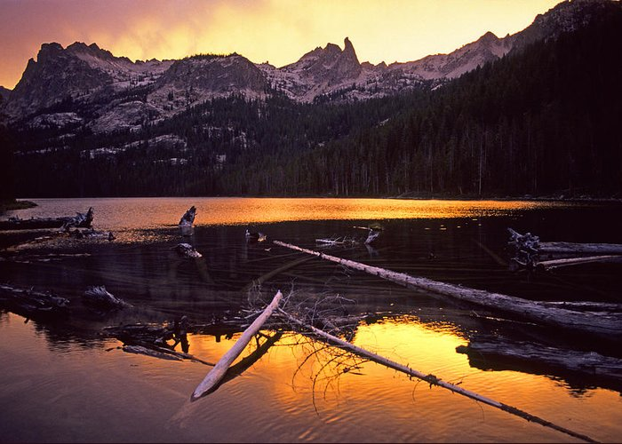 Sawtooth Mountains Greeting Card featuring the photograph Lake by Elijah Weber