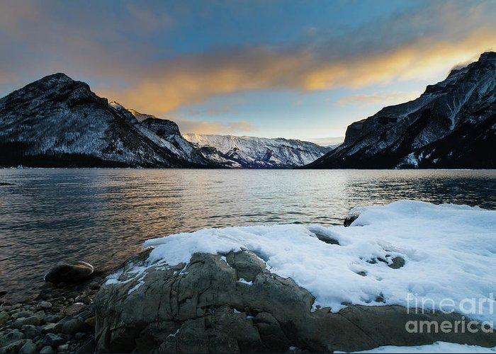Alberta Greeting Card featuring the photograph Lake Minnewanka by Ginevre Smith