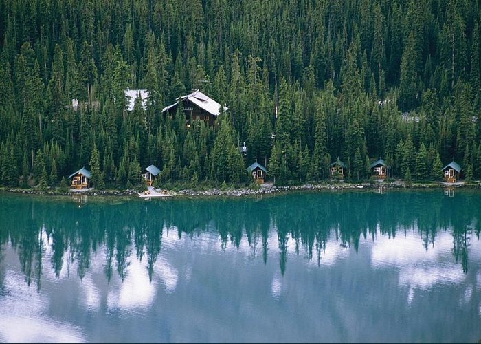 North America Greeting Card featuring the photograph Lake Ohara Lodge And Cabins by Michael Melford
