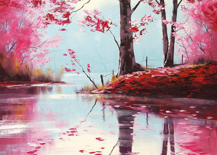 Fall Greeting Card featuring the painting Lake Reflections by Graham Gercken