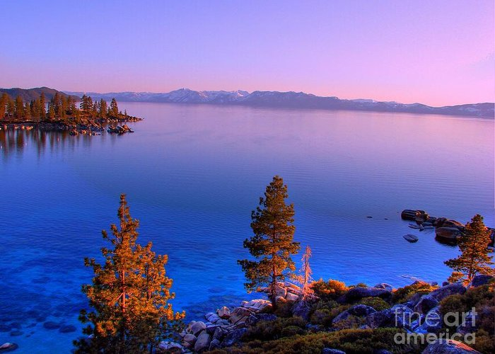 Lake Tahoe Sunset Greeting Card featuring the photograph Lake Tahoe Serenity by Scott McGuire