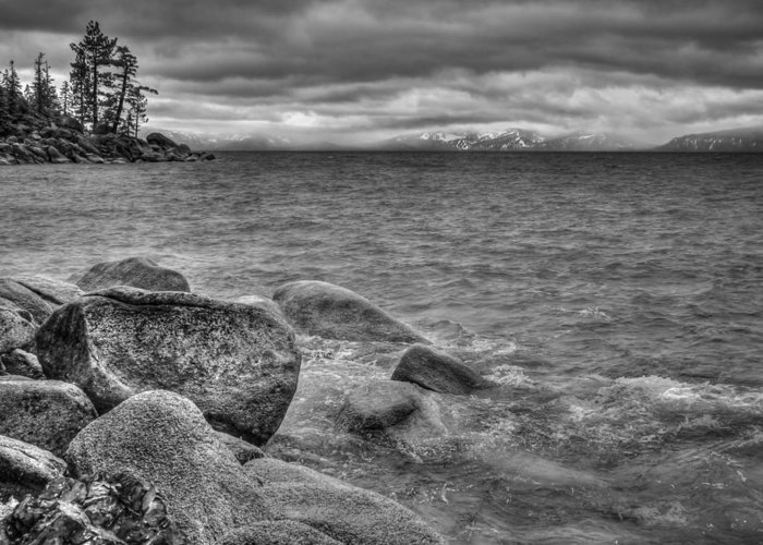 Black And White Greeting Card featuring the photograph Lake Tahoe Winter Storm by Scott McGuire