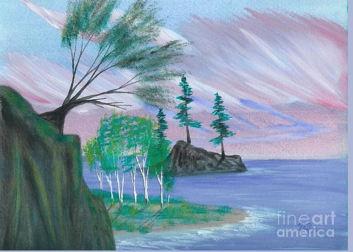 Lake Greeting Card featuring the painting Lakeside Symphony by Robert Meszaros