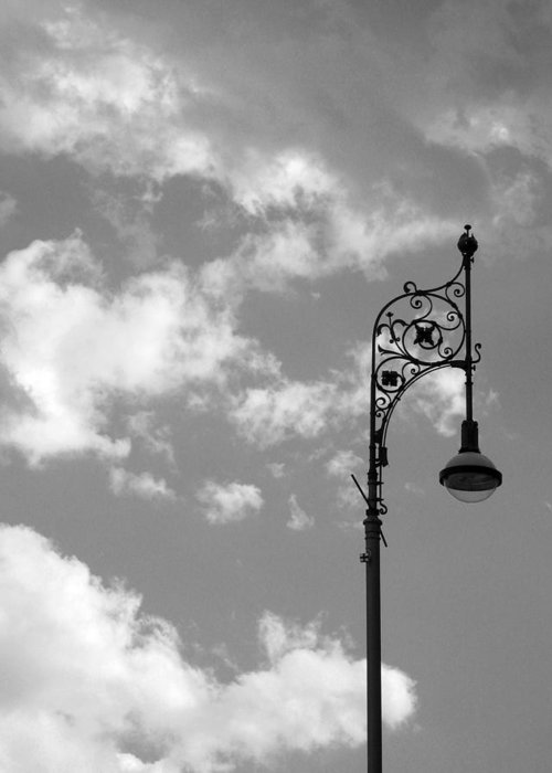 Lamp Post Greeting Card featuring the photograph Lampost And Clouds In Wroclaw Poland by Greg Matchick