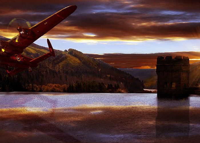 The Dambusters Greeting Card featuring the photograph Lancaster Over Howden Dam by Nigel Hatton
