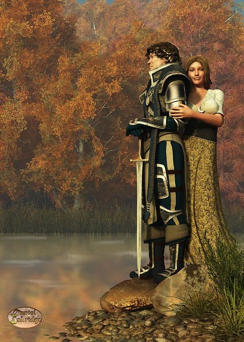 Lancelot Greeting Card featuring the digital art Lancelot And Guinevere by Daniel Eskridge