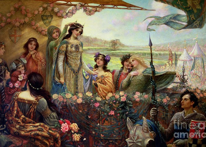 Lancelot And Guinevere Greeting Card featuring the painting Lancelot And Guinevere by Herbert James Draper