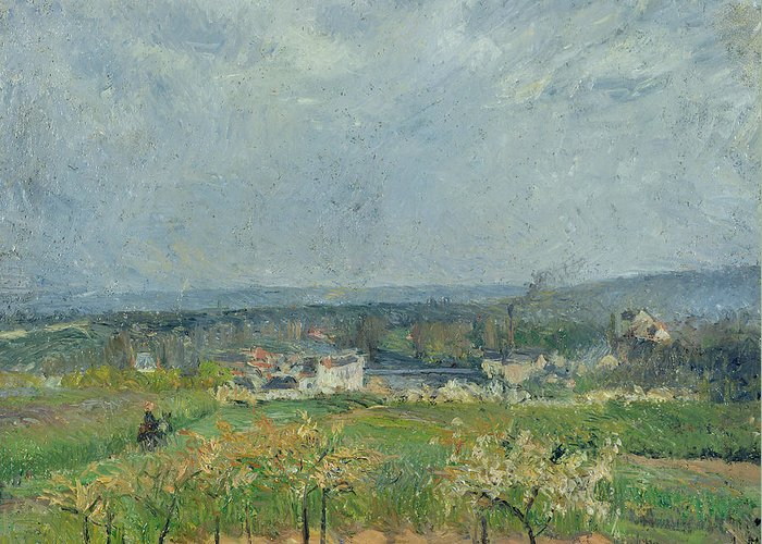 Camille Greeting Card featuring the painting Landscape In Pontoise by Camille Pissarro