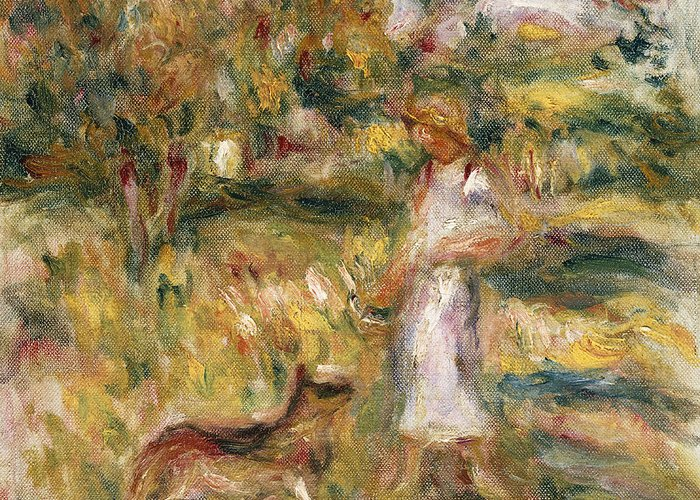 Pierre Auguste Renoir Greeting Card featuring the painting Landscape With A Woman In Blue by Pierre Auguste Renoir