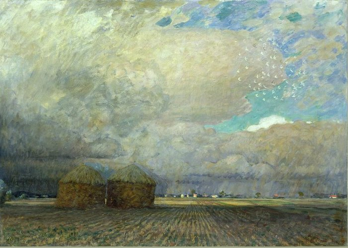 Field; Ploughed; Hut; Shack; Thatched; Thatch; Cloudy; Sky; Menacing; Brooding; Stormy; Flat; Horizon; Clouds; Agriculture Greeting Card featuring the painting Landscape With Huts by Leopold Karl Walter von Kalckreuth