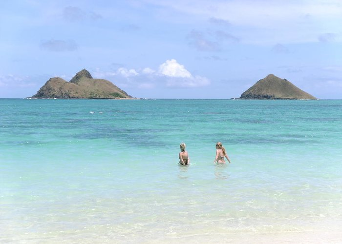 Elaine Haakenson Greeting Card featuring the photograph Lanikai Beach Of Oahu by Elaine Haakenson