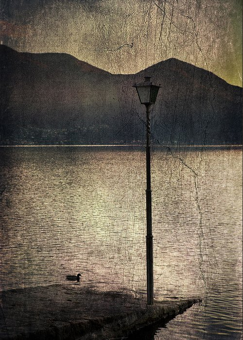 Lantern Greeting Card featuring the photograph Lantern At The Lake by Joana Kruse