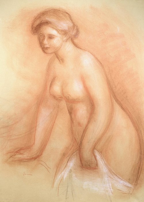 Large Greeting Card featuring the drawing Large Bather by Pierre Auguste Renoir