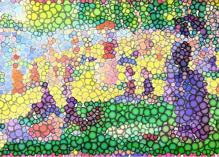 Sunday On La Grande Jatte Greeting Card featuring the digital art Large Bubbly Sunday On La Grande Jatte by Mark Einhorn