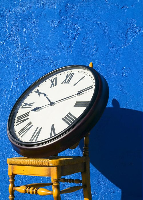 Clock Greeting Card featuring the photograph Large Clock On Yellow Chair by Garry Gay