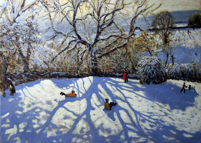 Sledge Greeting Card featuring the painting Large Tree And Tobogganers by Andrew Macara