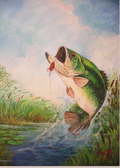 Largemouth Greeting Card featuring the painting Largemouth Bass by Jose Lugo