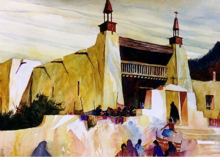Old Hispanic Church Greeting Card featuring the painting Las Trampas Market by Bob Cox