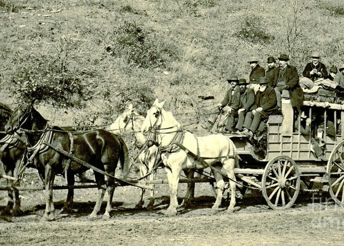Last Deadwood Coach 1890 Greeting Card featuring the photograph Last Deadwood Coach 1890 by Padre Art