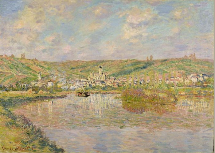 Late Greeting Card featuring the painting Late Afternoon - Vetheuil by Claude Monet