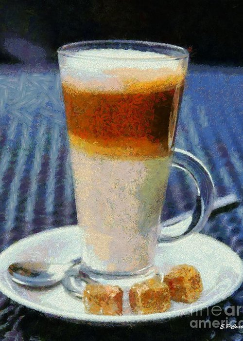 Coffee Latte Greeting Card featuring the painting Latte by Elizabeth Coats