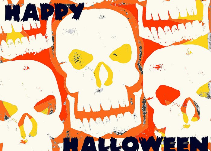 Skull Greeting Card featuring the digital art Laughing Skull by Jame Hayes