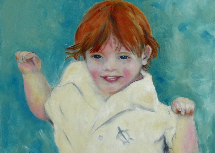 Child Greeting Card featuring the painting Laughter by Susan Hanlon