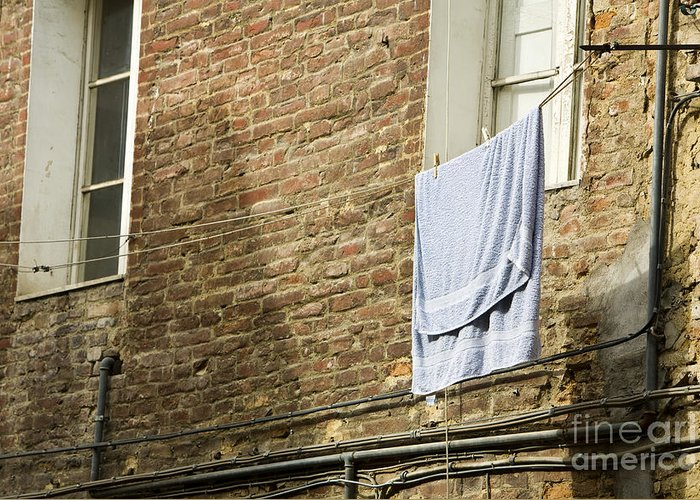 Apartment Greeting Card featuring the photograph Laundry Hanging From Line, Tuscany, Italy by Paul Edmondson