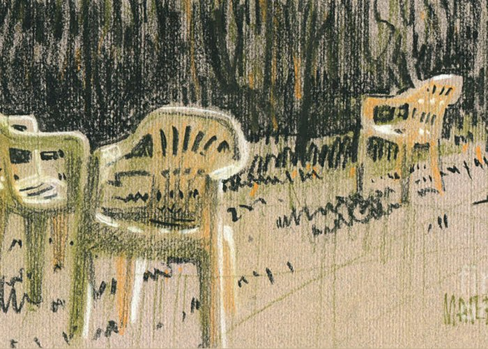 Plastic Greeting Card featuring the drawing Lawn Chairs by Donald Maier