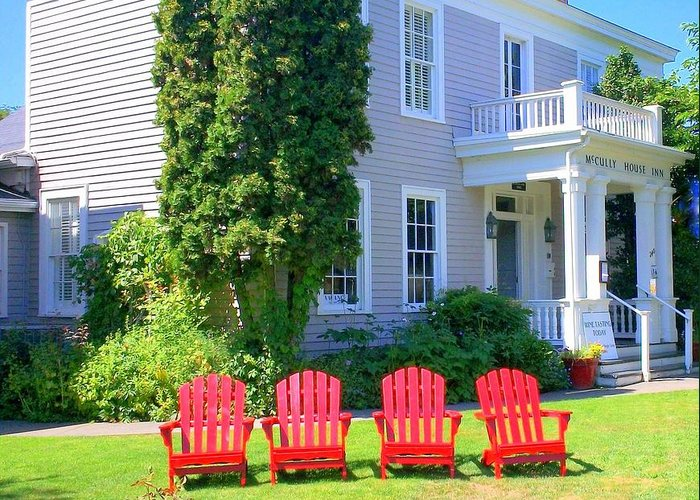 Adirondack Chair Greeting Card featuring the photograph Lawn Chairs by Randall Weidner