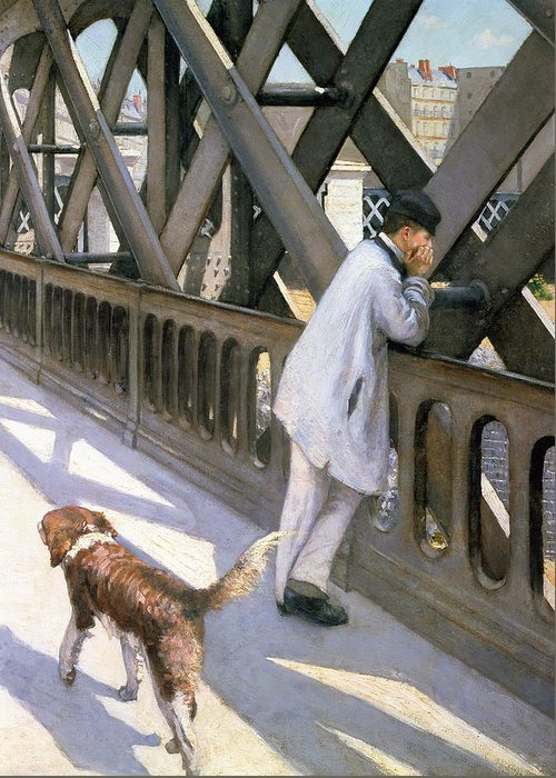 Impressionist; Bridge; Contemplation; Stray; Iron; Collie; Europe; Chien Greeting Card featuring the painting Le Pont De L'europe by Gustave Caillebotte