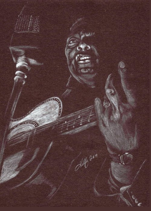 Leadbelly Greeting Card featuring the drawing Leadbelly by Kathleen Kelly Thompson