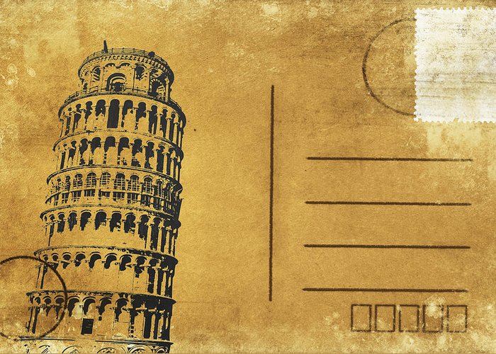 Address Greeting Card featuring the photograph Leaning Tower Of Pisa Postcard by Setsiri Silapasuwanchai