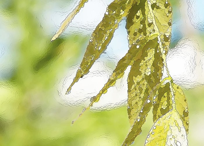 Wisteria Leaves Greeting Card featuring the painting Leaves Touching Water by Artist and Photographer Laura Wrede