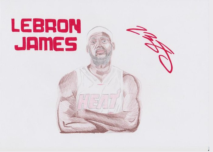 Lebron Greeting Card featuring the drawing Lebron James by Toni Jaso