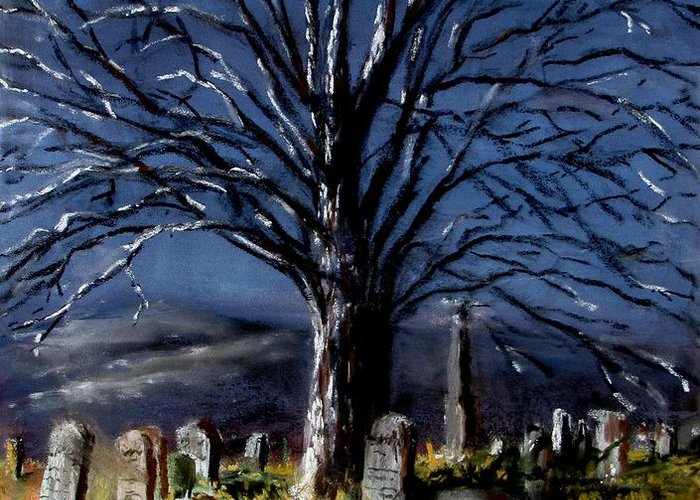Cemetary Greeting Card featuring the painting Left Alone by Jack Skinner