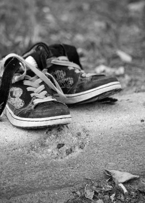 Sneakers Greeting Card featuring the photograph Left On The Curb Bw by Karol Livote
