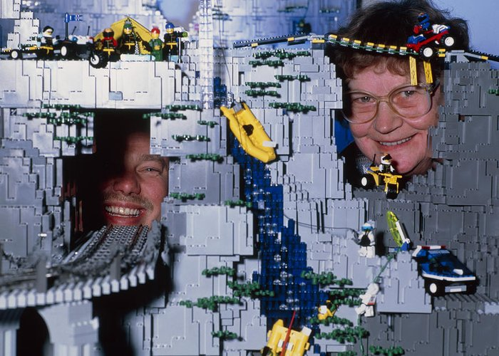 Lego Model Greeting Card featuring the photograph Lego Model And And Its Constructors by Volker Steger