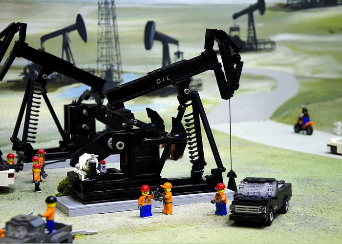 Legoland Greeting Card featuring the photograph Lego Oil Pumpjacks by Ricky Barnard
