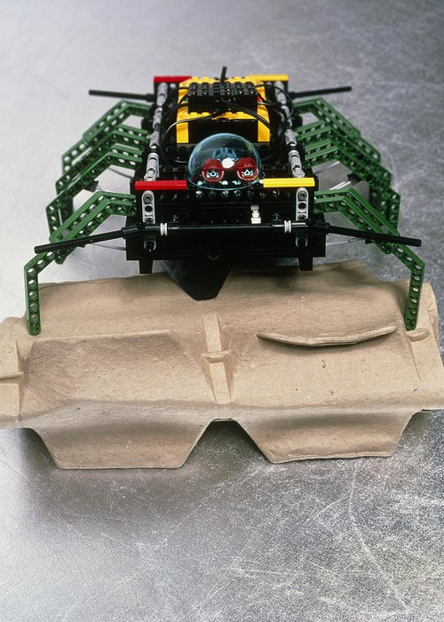 Robot Spider Greeting Card featuring the photograph Lego Robot Spider Climbing Over A Box by Volker Steger