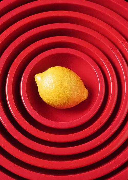 Lemon Greeting Card featuring the photograph Lemon In Red Bowls by Garry Gay
