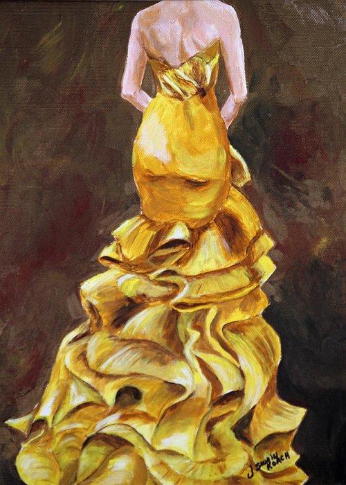 Dress Greeting Card featuring the painting Lemon Twist by Jennifer Koach
