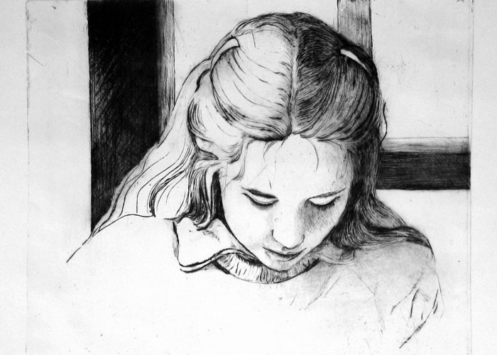 Etching Greeting Card featuring the drawing Lena by Gun Legler